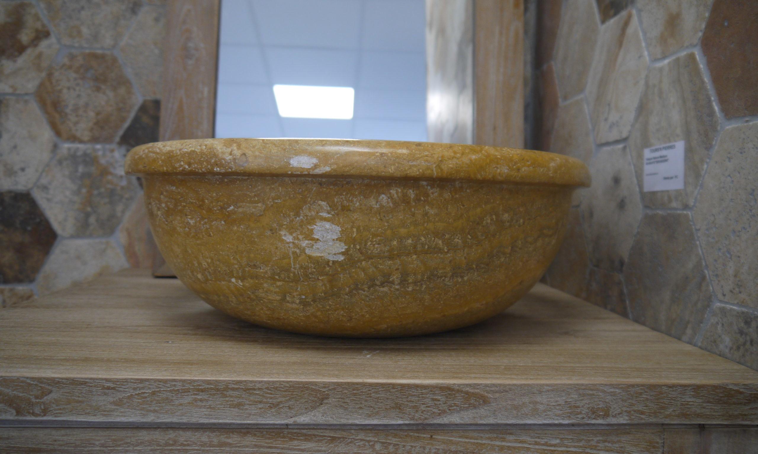 Vasque en pierre naturelle travertin jaune,