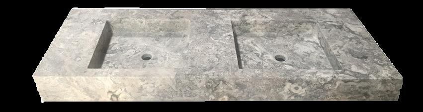 Vasque en pierre naturelle travertin gris
